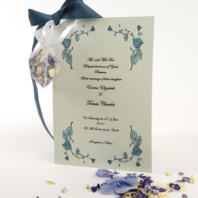 perfect for invites or clip a small organza bag to the order of service