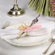 lavender sprigs look gorgeous with each napkin on a table place setting